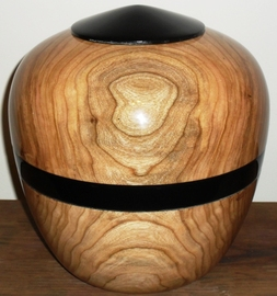 woodturned urn with black lacquer